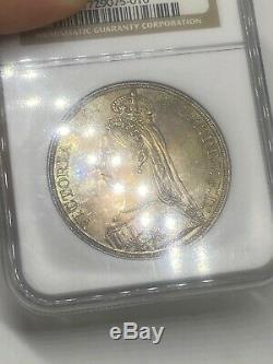 1887 Grande-bretagne Silver Crown Jubilee Ms 62 Jolie Rainbow Toning