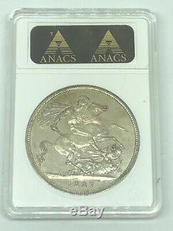 1887 Grande-bretagne Victoria Jubilee Head Silver Crown Anacs Ms 61 Coin