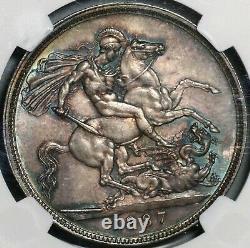 1887 Mbac Ms 63 Victoria Crown Grande-bretagne Silver St. George Coin (21022103c)
