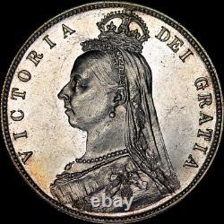 1887 Victoria Jubilé Demi-couronne Pièce De Choix Exquise Avec Des Champs Ressemblant À Des Preuves