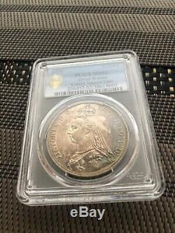 1888 Grande-bretagne Uk Queen Victoria Sliver Couronne Coin Pcgs Ms62 Année De Nice Tone