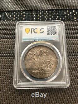 1888 Grande-bretagne Uk Queen Victoria Sliver Couronne Monnaie Pcgs Au55 Année
