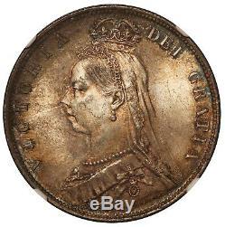 1889 Grande-bretagne Demi-couronne 1/2 Silver Coin Ngc Ms 64 Km # 764