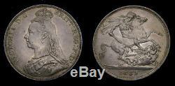 1889 Grande-bretagne Silver Crown Rare Cette Belle S-3921 Au + 6291