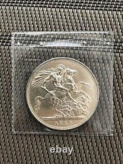 1889 Royaume-uni Grande-bretagne Reine Victoria Jubilee Couronne Sterling Silver Coin