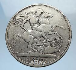1890 Grande-bretagne Royaume-uni Reine Victoria Silver Crown Coin Dragon I71802