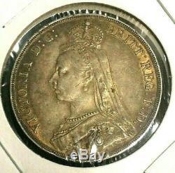 1890 Grande-bretagne Une Couronne Complète Xf + / Au Silver Coin Km 765