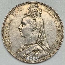 1890 Victoria Crown Xf Silver Coin Grande-bretagne Dragon Slayer Nice Détails