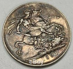 1891 Victoria Crown Xf Pièce D'argent Vieux Nettoyage Grande-bretagne Dragon Slayer