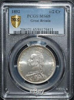 1892 Argent Halfcrown 1/2 Couronne Coin Pcgs Ms65 Demi-couronne Grande-bretagne S3924
