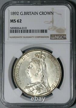 1892 Mbac Ms 62 Victoria Crown Grande-bretagne Jubilee Silver Coin (20121702c)