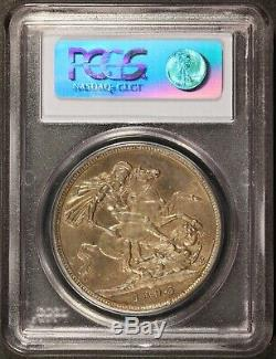 1893 Grande-bretagne LVI Bord Couronne One Silver Coin Pcgs Ms 64 Km # 783