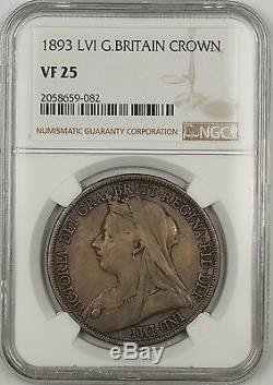 1893 LVI Grande-bretagne Couronne Argent Monnaie Ngc Vf-25