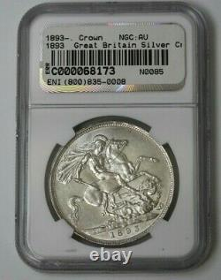 1893 LVI Grande-bretagne Silver Crown Ngc Au Détails # 68173jr