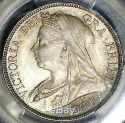 1895 Pcgs Ms 65 Victoria 1/2 Couronne Grande-bretagne Pièce D'argent (20020501c)