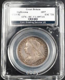1897, Grande-bretagne, Reine Victoria. Pièce De Couronne Certifiée Silver 1/2. Cgs Royaume-uni 82