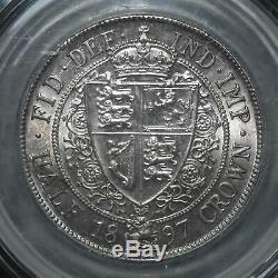 1897 Grande-bretagne, Victoria, Buste Voilé, Demi-couronne, S-3938, Cgs Unc 80