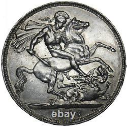 1897 LXI Crown Victoria British Silver Coin V Nice