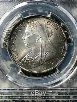 1898 Grande-bretagne 1/2 Demi-couronne Pcgs Ms64 Lot # G479 Argent! Belle Tonique