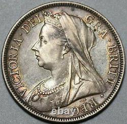 1898 Victoria 1/2 Couronne Xf Grande-bretagne Pièce D'argent (20082704r)
