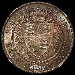 1901 Grande-bretagne Demi-couronne 1/2 Silver Coin Mbac Ms 63 Km # 782