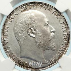 1902 Grande-bretagne Britannique Roi Edward VII Silver Matte Preuve Matte Crown Ngc I84424