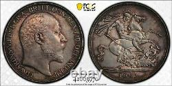 1902 Grande-bretagne Crown Edward VII S-3978 Pcgs Au55 Uk Silver Coin