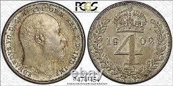 1902 Grande-bretagne Edouard VII 9-piece Matte Silver Proof Set Pcgs Pr62 Pr63 Pr64
