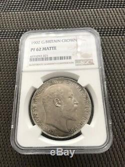 1902 Royaume-uni Grande-bretagne Edouard VII Matte Preuve Sliver Couronne Ngc Pf62 De Nice Coin