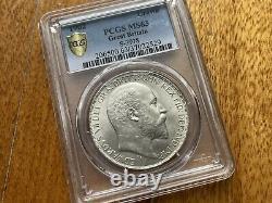 1902 Royaume-uni Royaume-uni King Edward VII Crown Silver Coin Pcgs Ms63 Gem Bu