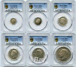 1927 Grande-bretagne Preuve Jeu De 3d, 6d, Shilling, Florin, 1/2 Cr Et Une Couronne Pcgs