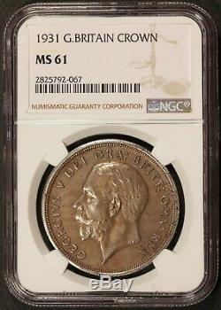 1931 Grande-bretagne 1 Une Couronne De Pièces D'argent Ngc Ms 61 Km # 836 Rare Date De Clé