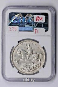1935 Grande-bretagne 1 Couronne Ngc Ms 65, Jubilé Incuse Bord Lettrage Witter Coin