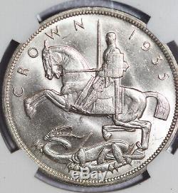 1935 Grande-bretagne George V Couronne Ngc Argent Ms64