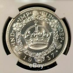 1937 Daté Grande-bretagne Silver Crown Fc 20e Edward VIII Ngc Pf 68 Cameo Scarce