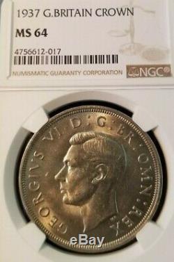 1937 Grande-bretagne Silver Crown George VI Ngc Mme 64 Belle Bu Coin