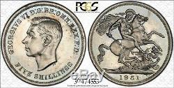 1951 Grande-bretagne Cinq Shillings Gpc Pl64 Légèrement Couleur Noir Et Blanc Coin