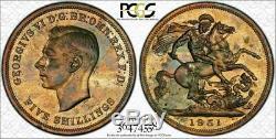 1951 Grande-bretagne Couronne Cinq Shillings Gpc Pl64 Coin Haute Graded Noir Et Blanc