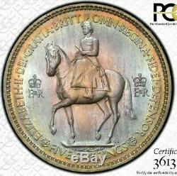 1953 Grande-bretagne Cinq Shillings Pcgs Ms66 Couleur Toned Coin None Fonctionnaires De Rang Supérieur