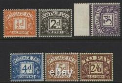 1954-5 1/2d-2/6 Tudor Crown Wmk Affranchissement Dû Fixé Menthe Non Surmontée. D40-45 (d40-45)