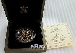 1989 Grande-bretagne 5 Livres D'or Couronne Monnaie 500ème Anniversaire De Souverain