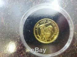 2003 Isle Of Man Seigneur Des Anneaux D'or Preuve 1/10 Oz Couronne Coin Premier Jour