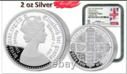2021 Alderney Gothic Crown 2oz Silver £5 Ngc Pf70 Ide Jody Clark Signed Pop 200
