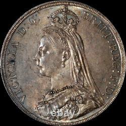 Anacs Ms63 1887 Grande-bretagne Queen Victoria Silver Crown Toned