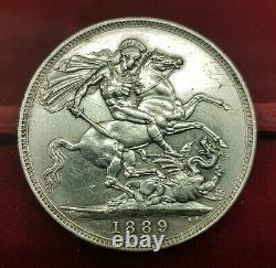 B-d-m Grande-bretagne 1 Couronne Victoria 1889 Km 765 Plata Ebc- Axf