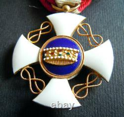 Brillant Ordre De L'italie Des Commandants De La Couronne Croix 18ct Or Très Bon