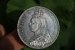 Couronne Grande-bretagne La Reine Victoria 1887, Médaille D'argent Britannique, Tonifiée Arc En Ciel