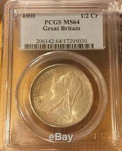 Demi-couronne 1900 Pcgs Ms 64 1/2 Corinthiens Grande-bretagne