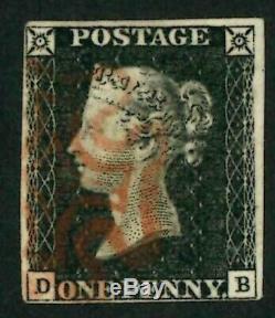 GB Qv Penny Black 1840 Sg2 Ligne / Eng Plate 4 Die1 Alpha 1 Sm / Crown Fine 4 Marge