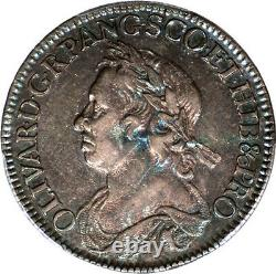 Grande Bretagne 1658 Cromwell Silver Half Crown Pcgs Au-53 Gold Shield